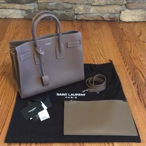 NWT YSL Saint Laurent Small Avec Porte in Taupe
